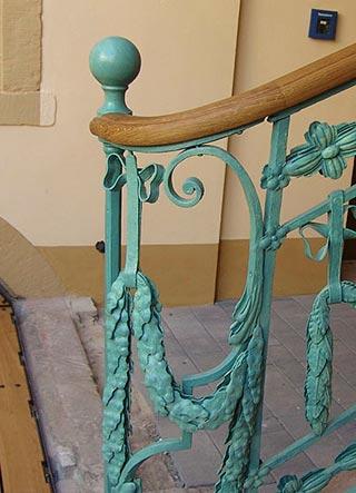 Detail des restaurierten Treppengeländers in C4,6, Wohnhaus von Friedrich Engelhorn