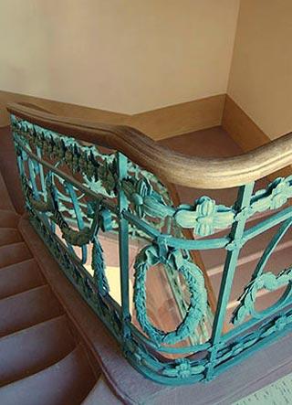 Detail des retsuarierten Terppengeländers in C4,6, Wohnhaus von Friedrich Engelhorn